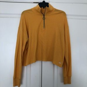 Yellow Hollister Quarter Zip Cropped Top